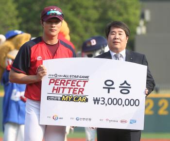 넥센 김하성, 올스타전 퍼펙트히터 우승...상금 300만원