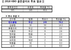 [골든글러브]2018 KBO 골든글러브 투표 결과 표