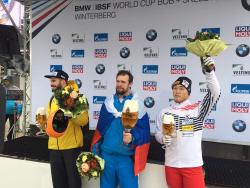 '아이언맨' 윤성빈, 봅슬레이 월드컵 2연속 동메달 획득