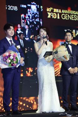 [포토]제네시스 시상식 진행하는 '골프여신' 김미영 아나
