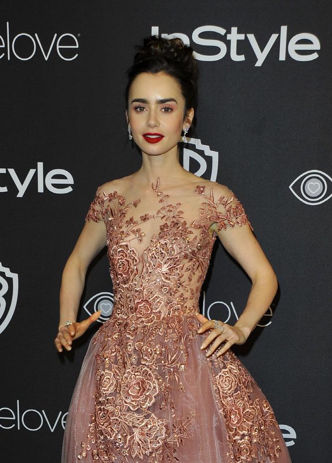 [포토]릴리 콜린스, 골든 글로브 시상식 '시스루 드레스 소화'