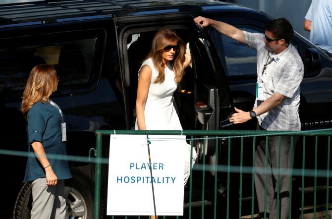 [포토] `US여자오픈` 찾은 美트럼프 대통령 부인 멜라니아 여사
