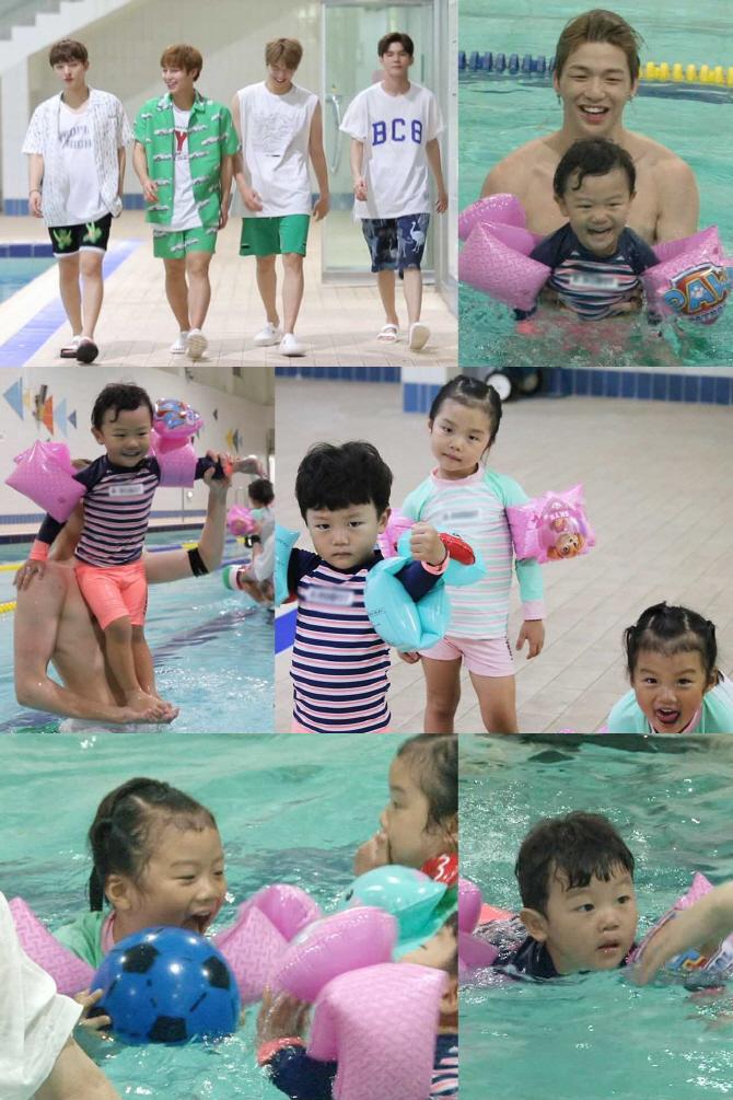 워너원, `슈퍼맨` 설수대 비글 남매와 수영장 나들이