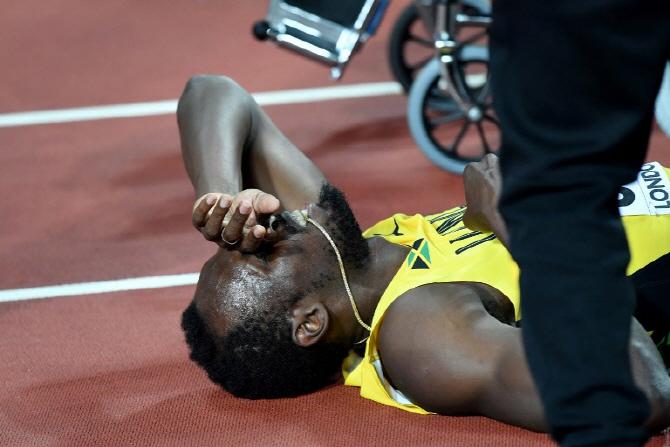 볼트, 악몽으로 끝난 마지막 레이스...영국, 400m 계주 첫 우승