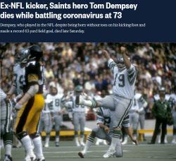 '손·발가락 없는 장애 이긴 'NFL 전설' 뎀프시, 코로나19로 사망