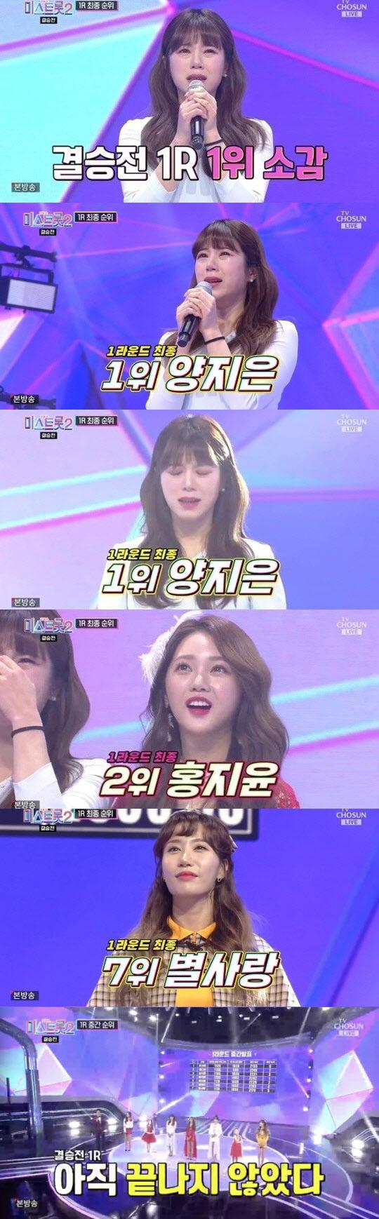 """'미스트롯2' 양지은, 결승1R 최종 1위…""""眞만큼 기뻐"""" 눈물"""