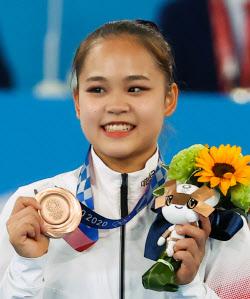 [도쿄올림픽]여서정, 도마 동메달…韓 여자 첫 메달·최초 메달 부녀